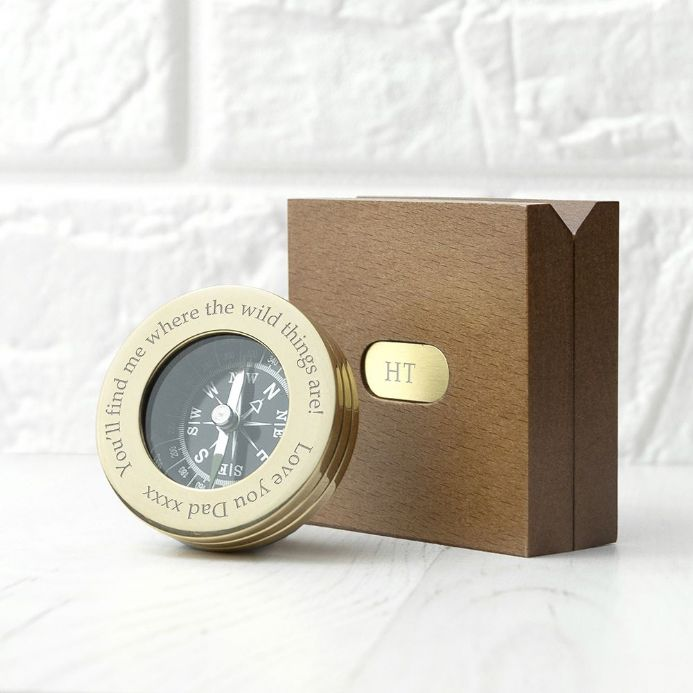 Personalised Brass Travellers Compass with Wooden Box  | Personalised  Gifts | The Present Season